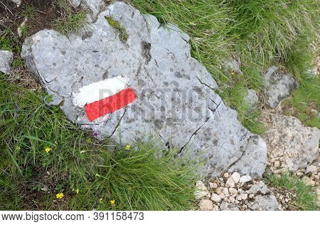 Mountain Track On The Path With Red And White Colors