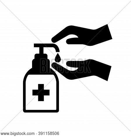 Please Use Hand Sanitiser Black Icon,vector Illustration, Isolated On White Background Label. Eps10