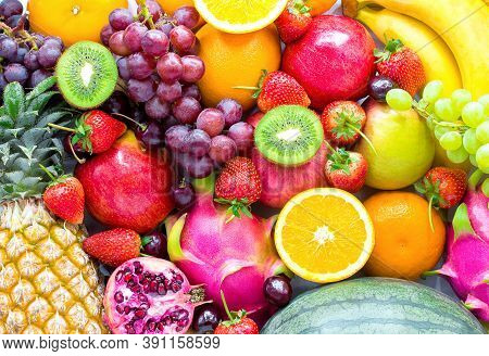 Fresh Fruits.assorted Fruits Colorful,clean Eating,fruit Background,image.