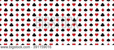 Card Suit Vector Pattern Background. Playing Poker Card Symbol. Texture Backdrop.