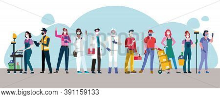 Essentials Workers Wit Diferents Occupations Wearing Masks  In Coronavirus Pandemic