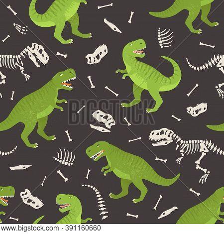 Dinosaur Skeleton Seamless Grunge Pattern. Original Design With T-rex, Dinosaur. Print For T-shirts,
