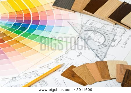 Color Guide, Material Samples And Blueprint