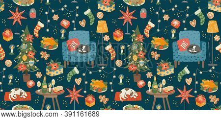 Christmas And Happy New Year Seamless Pattern. Sweet Home. Vector Design Template.