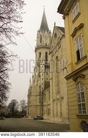 Klosterneuburg Monastery Of Roman Catholic Church Near Vienna Austria In Morning Mist 04 November 20