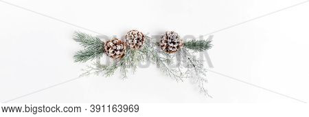 Xmas Festive Wide Banner With Reusable Christmas Decor Made Of Tree Branches, And Pine Cones On Whit