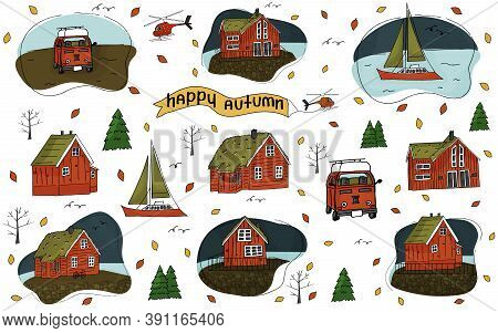 Set Of Wooden Houses, Helicopter, Christmas Trees, Inscription Happy Autumn, Yacht Caravan, Travel T