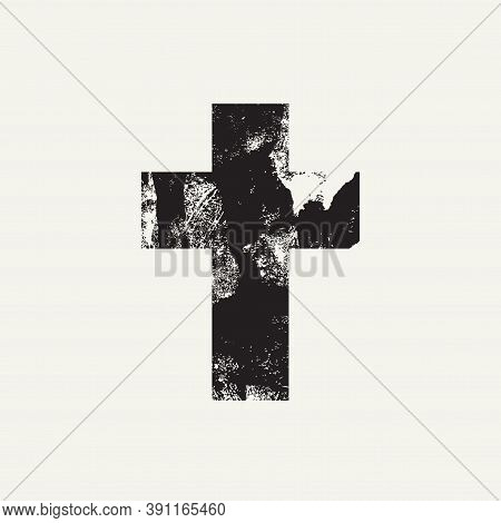 Abstract Black Cross Isolated On A Light Background. Creative Vector Banner Or Illustration On The R