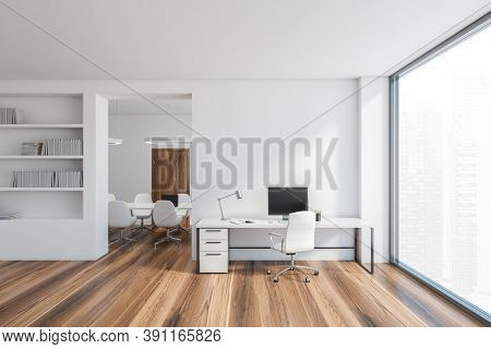 White Office Room, Secretary And Meeting Room With A Bright Large Window, 3d Rendering. Minimalist S