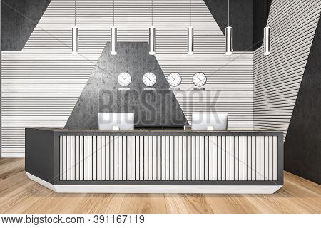 Reception Hall Desk With Two Computers Front View. Lobby Open Space Business Room, Black And White W