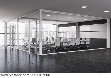 Corner Of Modern Office Meeting Room With White And Glass Walls, Tiled Floor And Long Conference Tab