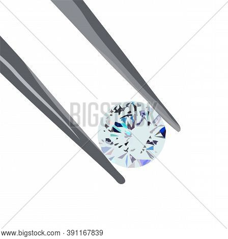 Diamond Vector Stock Illustration. A 7-carat Gem In Tweezers. Jewelry Work On Sapphire Cutting. Isol