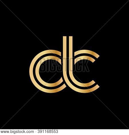 Lowercase Letters D And C. Flat Bound Design In A Golden Hue For A Logo, Brand, Or Logo. Vector Illu