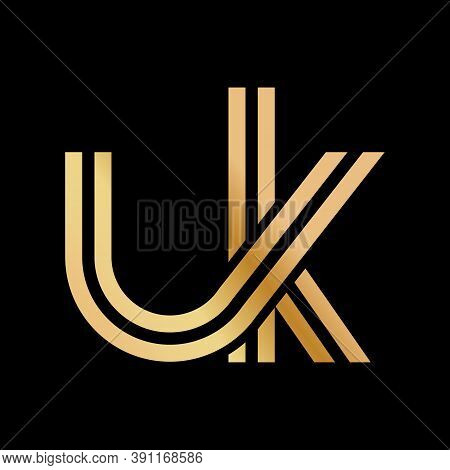 Lowercase Letters U And K. Flat Bound Design In A Golden Hue For A Logo, Brand, Or Logo. Vector Illu