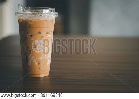 Samut Prakan, Thailand - October 23, 2020 : Iced Mocha Coffee Take Away At Inthanin Coffee Shop. Int