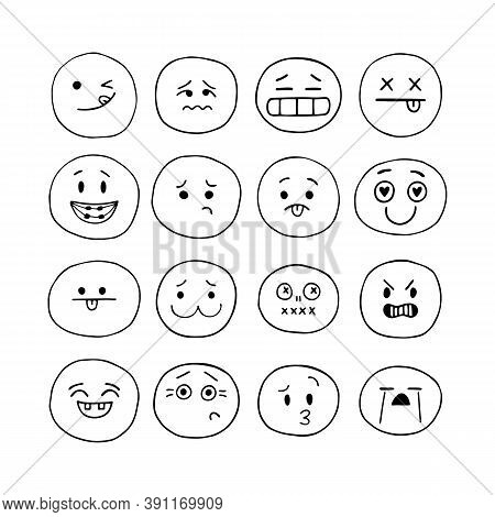 Emoji Icons. Happy Hand Drawn Funny Faces. Sketched Facial Expressions Set. Collection Of Cartoon Em