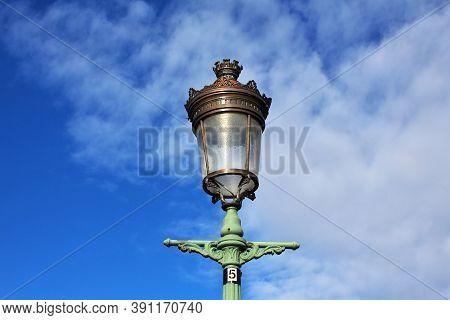 The Lamp On The Bridge In The Center Of Dublin, Ireland