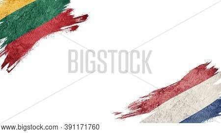 Flags Of Lithuania And Nederland On White Background