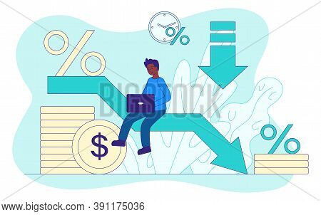 Loan Reduction Abstract Concept With A Man Sitting On A Falling Arrow Of A Graph Symbolizing A Decre