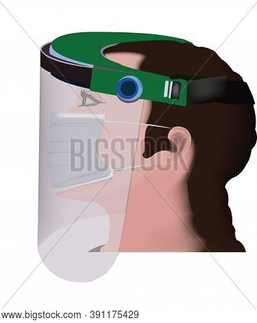 Transparent Protective Visor With Health Worker Transparent Protective Visor With Health Worker