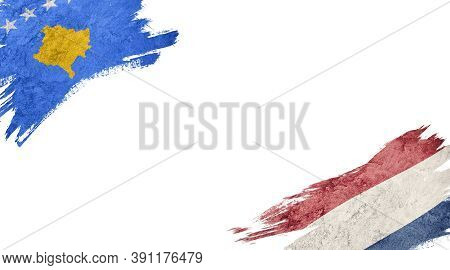 Flags Of Kosovo And Nederland On White Background