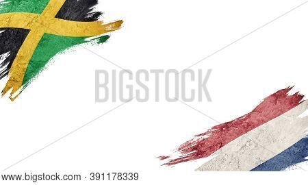 Flags Of Jamaica And Nederland On White Background