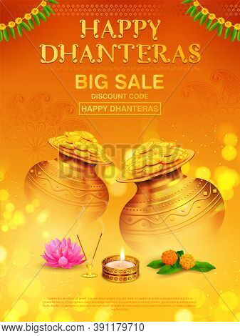 Illustration Of Gold Coin In Pot For Dhantera Celebration On Happy Diwali Light Festival Of India Ba