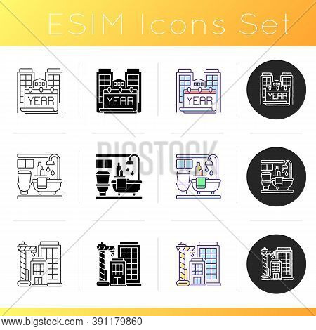 Apartment Icons Set. Year Built. Bath Room In House. Building New Skyscraper. Tall Highrise Engineer