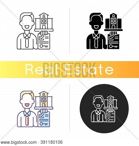 Realtor Icon. Real Estate Agent. Business Contract. Invest Money In Realty. Residential Property For