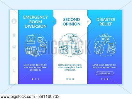 Telemedicine Pros Onboarding Vector Template. Emergency Medical Help. Another Doctor Opinion. Respon