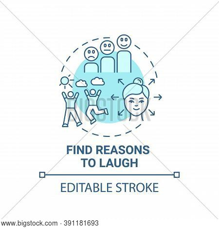 Find Reasons To Laugh Concept Icon. Self Care Checklist. Telling Funny Jokes. Healthy Lifestyle. Fun