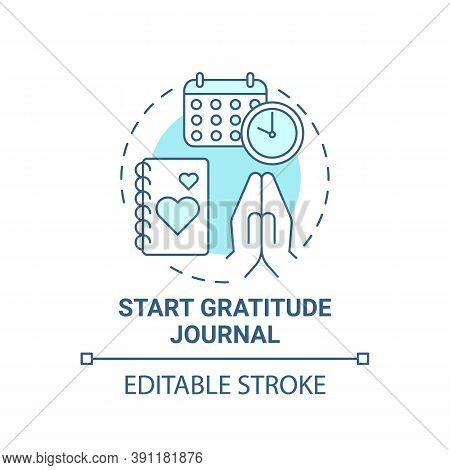 Start Gratitude Journal Concept Icon. Self Care Practices. Tool To Keep Track Of Good Things You Do