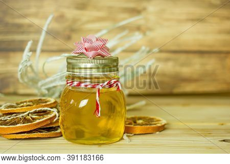 Christmas Gift Honey. Linden Honey In A Beautiful Jar Decorated For Christmas. Homemade Delicious Gi