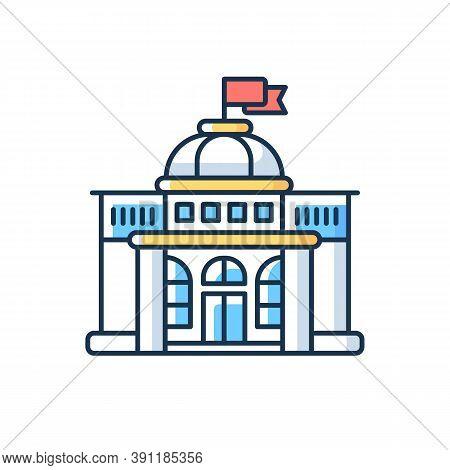 Government Rgb Color Icon. Authorities. Political Power. Legislature, Executive And Judiciary. Gover