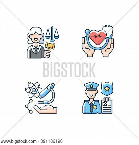 Critical Services Rgb Color Icons Set. Justice Sector. Health Care. Human Services. Research. Law En