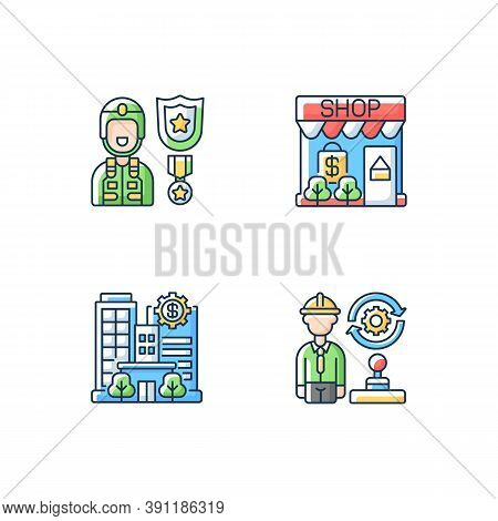 Vital Services Rgb Color Icons Set. Defence Industry. Small Business. Banks And Financial Institutio
