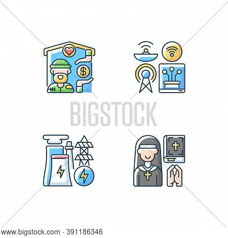 Fundamental Services Rgb Color Icons Set. Homeless Shelter. Telecommunication Services. Electricity