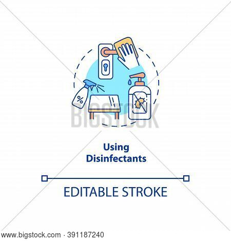 Using Disinfectants Concept Icon. New Public Rule Idea Thin Line Illustration. Cleaning, Disinfectin