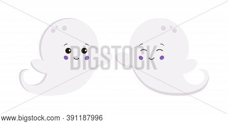 Halloween Ghost Boy Set Isolated On White Background. Cute Smiling Flying White Ghost Creepy Funny C