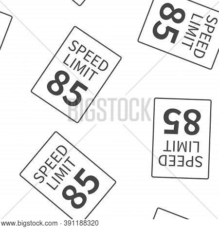 Vector Speed Limit 85 Mph Seamless Pattern On A White Background.