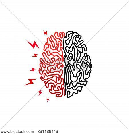 Human Brain. Headache, Stress, Insanity. Human Brain Logo Icon In Line Style On White Background. Cr