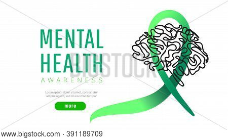World Mental Health Day Concept. Green Awareness Ribbon With Line Brain Icon Or Shape On White Backg