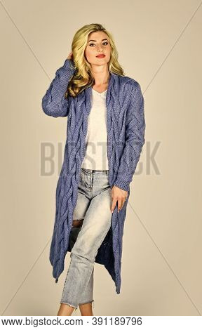 Woman Wear Long Knitted Cardigan. Cozy Outfit. Warm And Comfortable. Clothes Shop. Oversize Cardigan