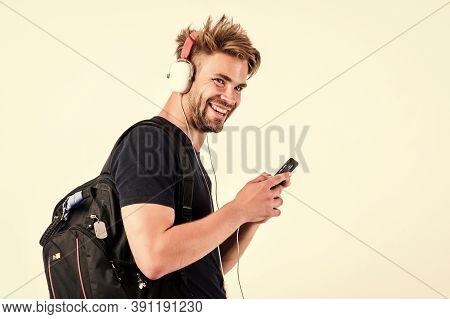 Music Application Concept. Mp3 Player Concept. Enjoy Perfect Music Sound Headphones. Music Gadget. M