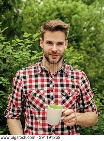 What A Great Morning. Cheerful Man In Shirt Drink Morning Coffee. Good Morning. Fresh Inspiration An