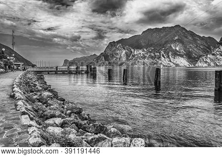 Scenic Idillic View Over The Lake Garda From The Town Of Torbole, Italy