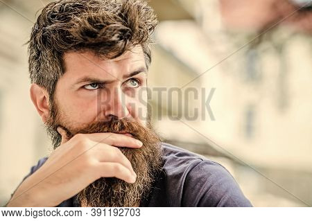 Bearded Man Concentrated Face. Thoughtful Mood Concept. Making Important Choices. Man With Beard And