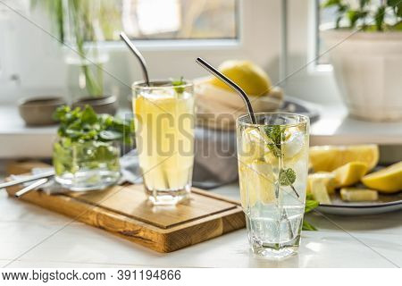 Grapefruit Gin And Tonic Selection Drink Alcohol Cocktail Or Detox Water On The White Table Near Win