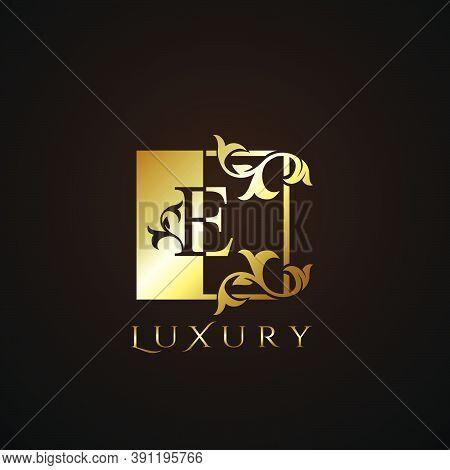 Luxury  Logo Letter E Golden Square  Vector Square Frame Design Concept.