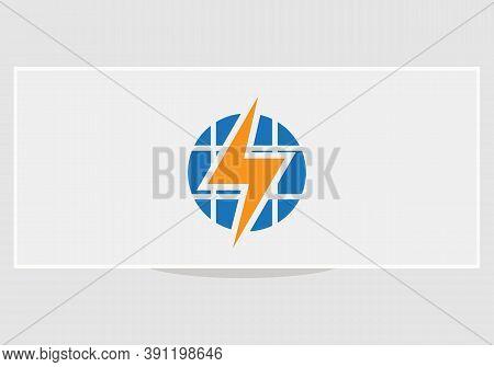 Solar Energy Electric Logo. Solar Logo. Solar Energy Logo With Power Concept